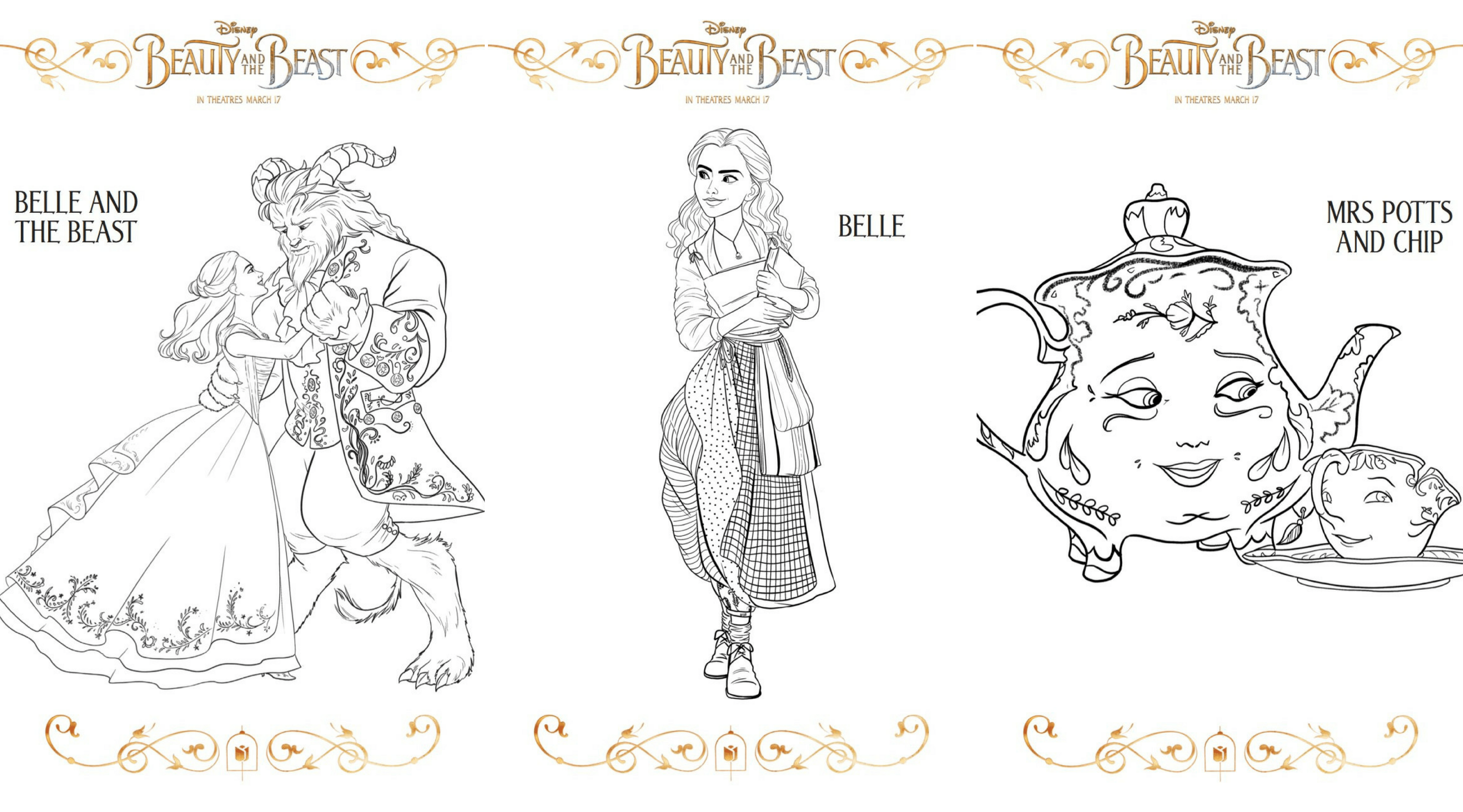picture about Beauty and the Beast Printable Coloring Pages identified as 3 Clean Natural beauty and the Beast Printable Coloring Sheets