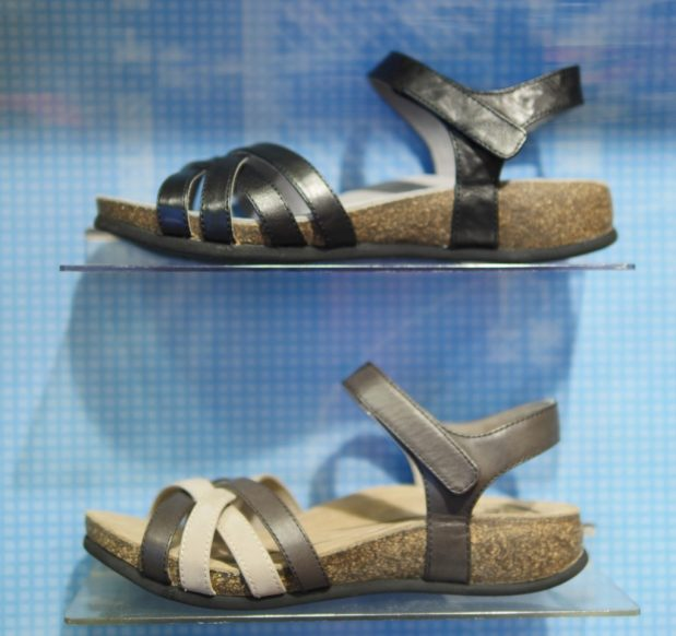 The ABEO Bridgette sandals come in black and a neutral brown.