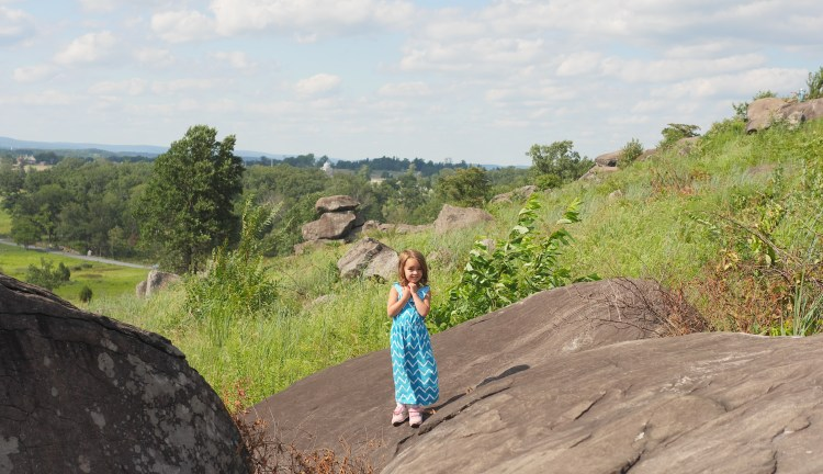 Children explore the rocks at Little Round Top in Gettysburg - Theresa's Reviews