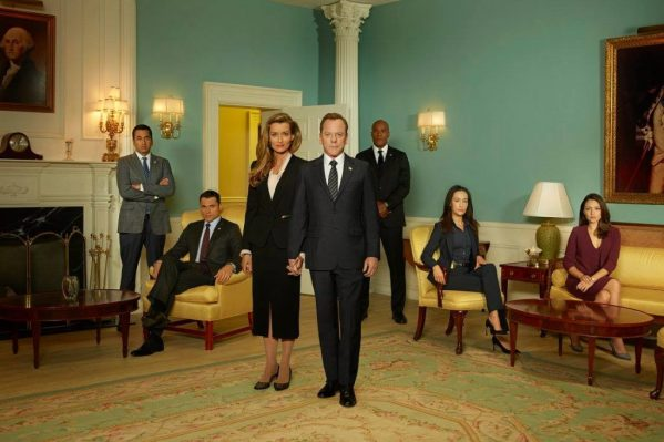 Designated Survivor stars Kiefer Sutherland, Kal Penn, Maggie Q, Natascha McElhone, and Italia Ricci. Photo credit: ABC