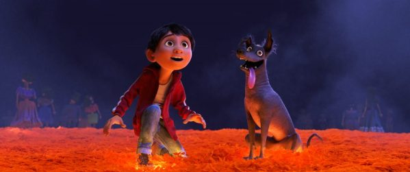 "MARIGOLD BRIDGE — In Disney•Pixar's ""Coco,"" Miguel (voice of newcomer Anthony Gonzalez) desperately wants to prove his musical talent. But when he strums the guitar of his idol, the late Ernesto de la Cruz, Miguel sets off a mysterious chain of events and finds himself—and his loyal dog Dante—crossing into the Land of the Dead via a breathtaking bridge made of marigold petals. Directed by Lee Unkrich, co-directed by Adrian Molina and produced by Darla K. Anderson, ""Coco"" opens in theaters Nov. 22, 2017. ©2017 Disney•Pixar. All Rights Reserved."