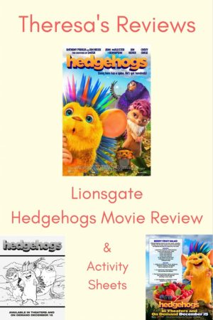 Theresa's Reviews Lionsgate Hedgehogs movie review and activity sheets