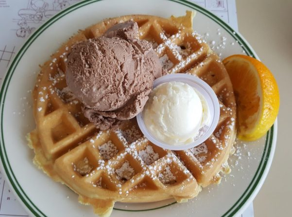 Homemade Belgian Waffle with Ice Cream at Dumser's Dairyland