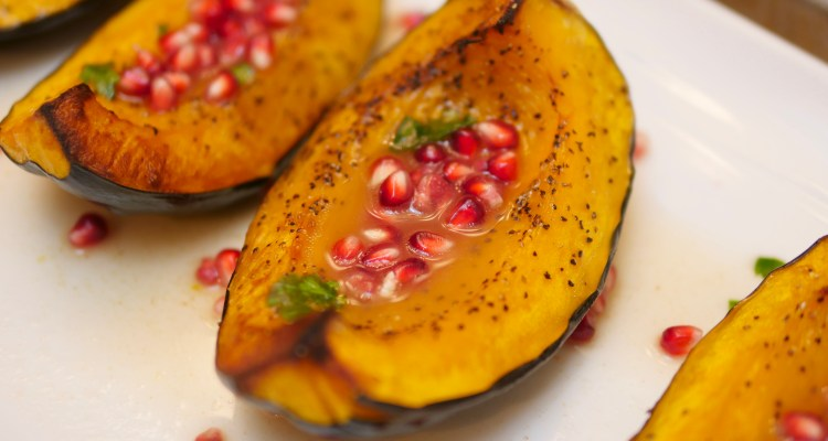 Acorn Squash with an Apple Cider Glaze and Pomegranate