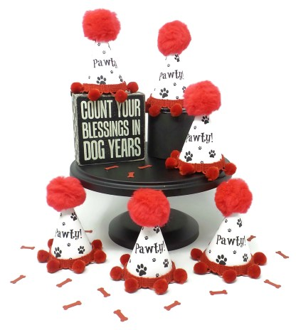 Dog Birthday Hat, Puppy Party, Dog Party Favors, Paw Print Party Favors, Misfit Manor Shop
