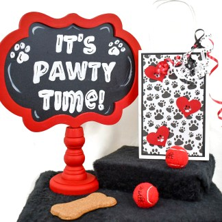 Paw print dog favor bags