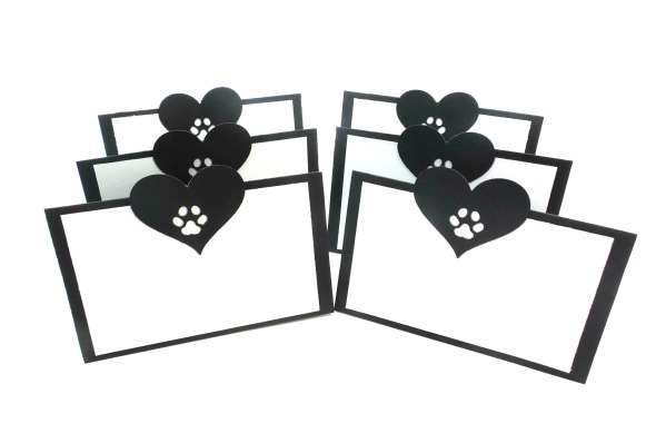 Hearts and Paw Prints Dog Party Place Cards, The Misfit Manor Shop