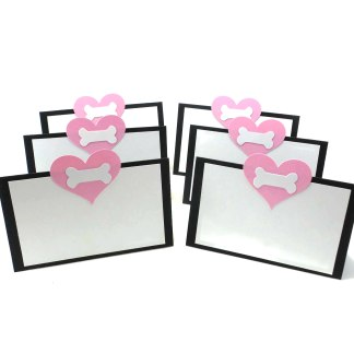 Pink Heart and Dog Bone Party Place Cards