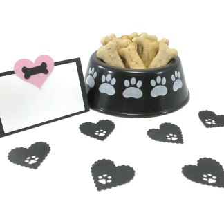 Pink Heart Dog Party Place Cards, Misfit Manor Shop