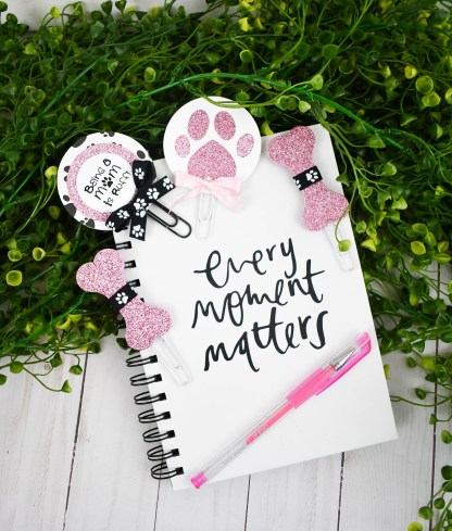 Pink Glitter Dog Mom Planner Clip Set - The Misfit Manor Shop