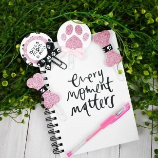Pink Glitter Dog Mom Planner Clip Set - The Misfit Manor Shop