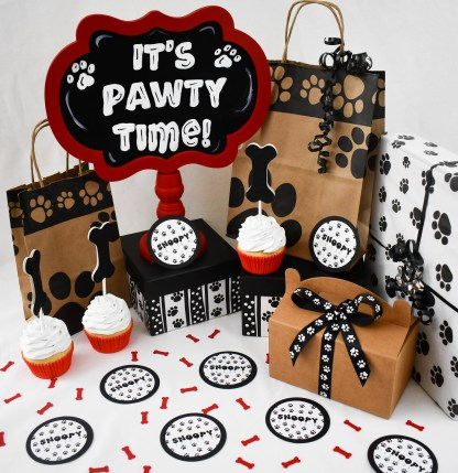 Personalized Paw Print Dog Birthday Party Table Confetti - The Misfit Manor Shop