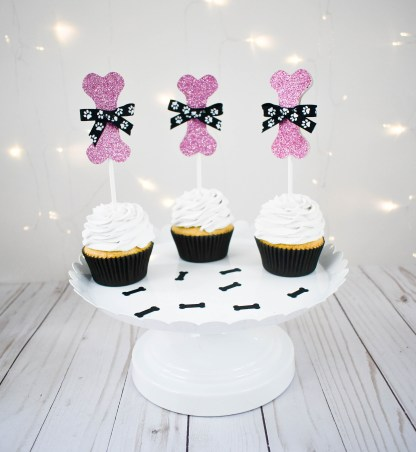 Pink Sparkly Dog Bone Cup Cake Topper - Misfit Manor Shop