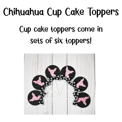 Pink Sparkly Chihuahua Dog Cup Cake Toppers
