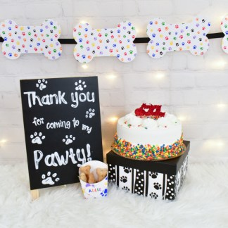 Rainbow Dog Bone Party Banner