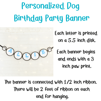 Dog Birthday Party Banner, Misfit Manor Shop