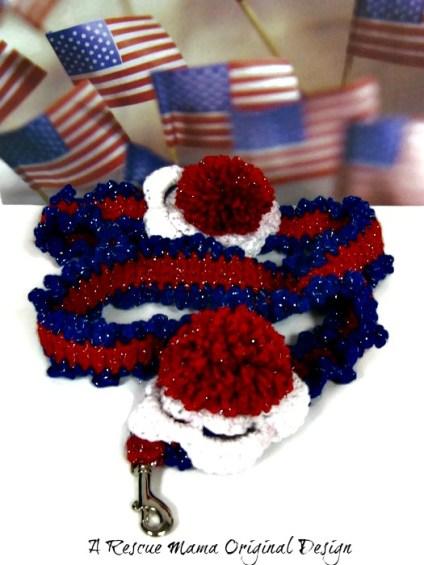 Patriotic Dog Leash, Red White Blue Dog Leash, Patriotic Dog, Crochet Dog Leash, Crocheted Dog Leash