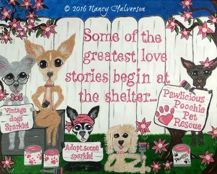 the rescue mama, Nancy Halverson, pet rescue art, Pawffiti, dog rescue, chihuahua rescue, custom artwork