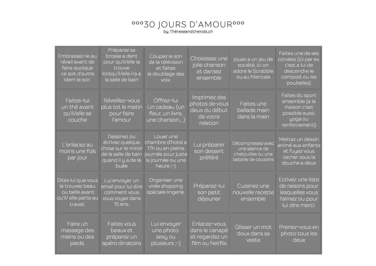 30 jours d'amour love challenge thereseandthekids