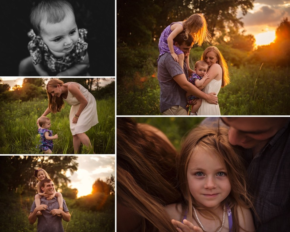 golden hour tree-lined family photography