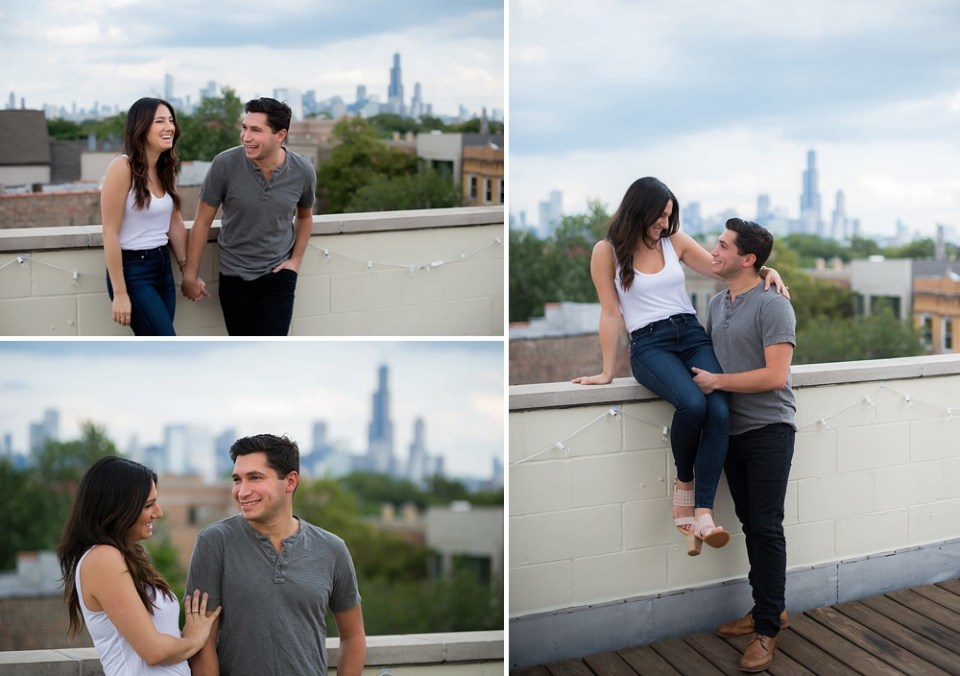 Chicago skyline rooftop engagement photos