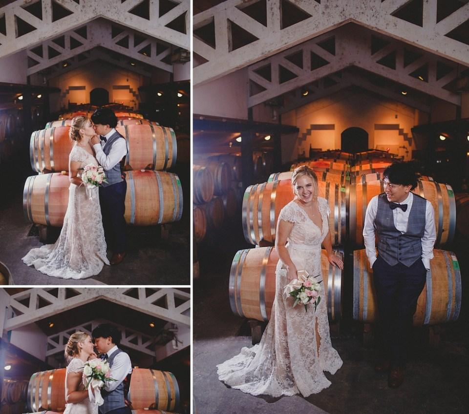 winery barrels at wedding