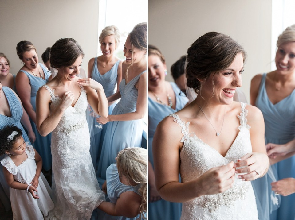 bride getting ready in natural light