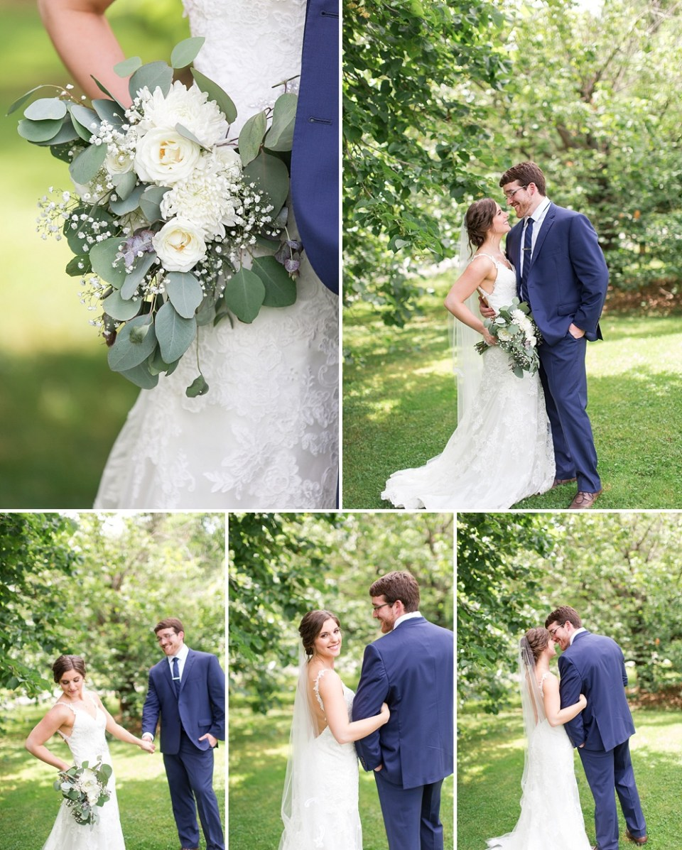 delicate white and green bouquets