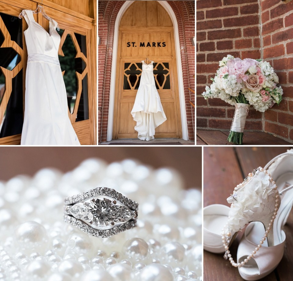 white pearl wedding details