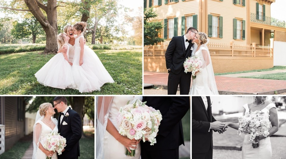 wedding photos at Lincoln's home in Springfield