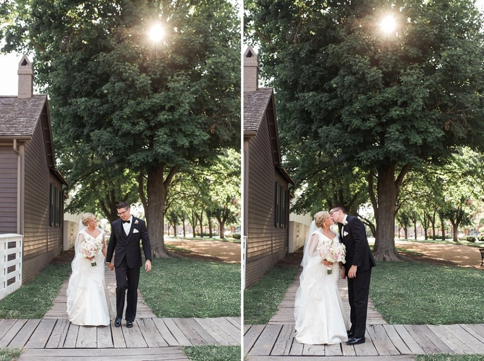 bride and groom with filtered sunlight
