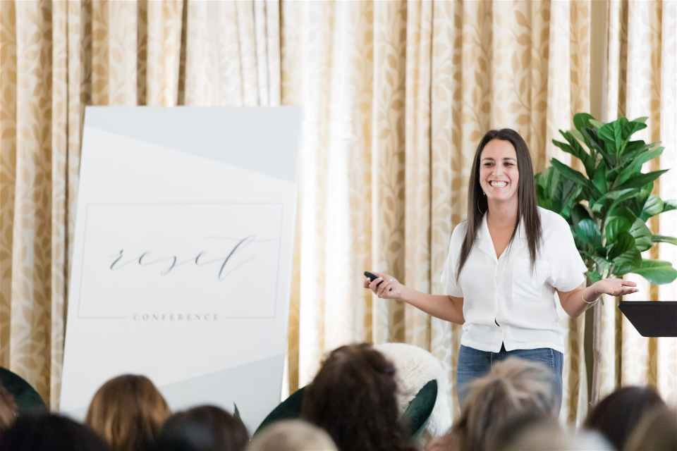 Elena Blair speaks at the 2019 Reset Conference for creatives