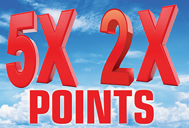 2x and 5x Points Every Monday