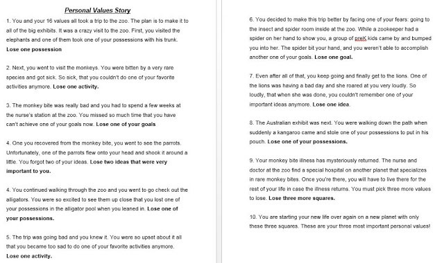 Personal Values lesson story used to help students process their values.