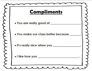 Compliment sentence stems reproducible anchor chart