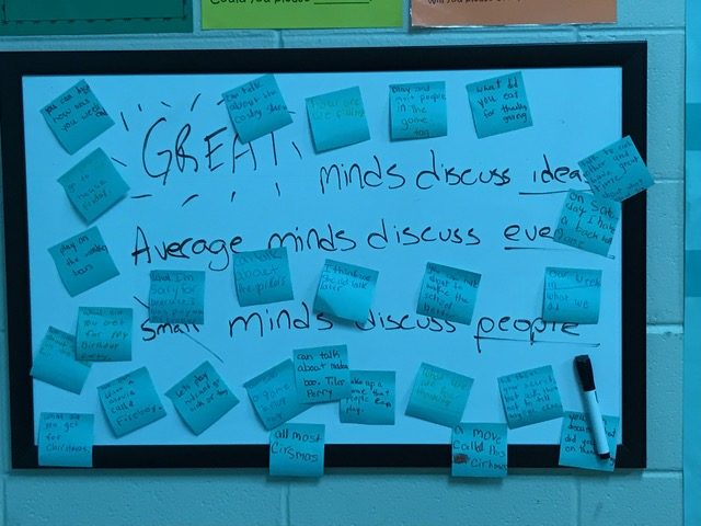 Students brainstormed ideas of different things they can talk about instead of talking about other people.