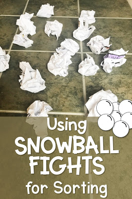 snowball fight activity for sorting ideas