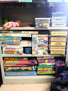 games on bookshelf