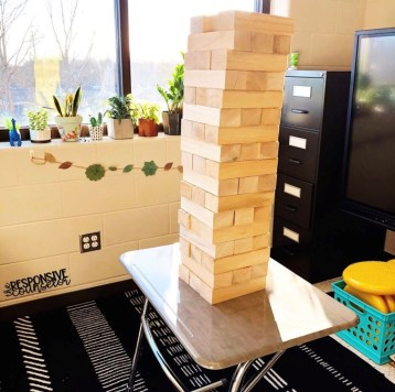 school counseling office jenga tower on desk