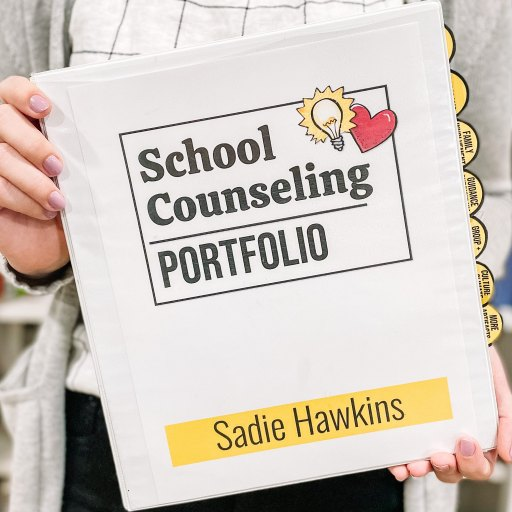 front cover of a school counseling portfolio for interviews