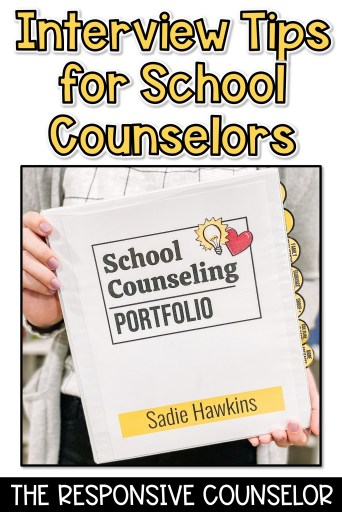 Interview tips and questions for school counseling pin image for later
