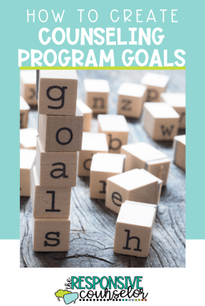 school counseling program goals block letters spelling goals
