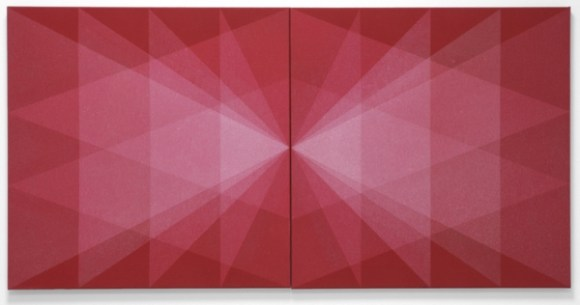 Florian and Michael Quistrebert, 'OUT', 2012, sprayed bleach on red fabric, 70 x 140 cm