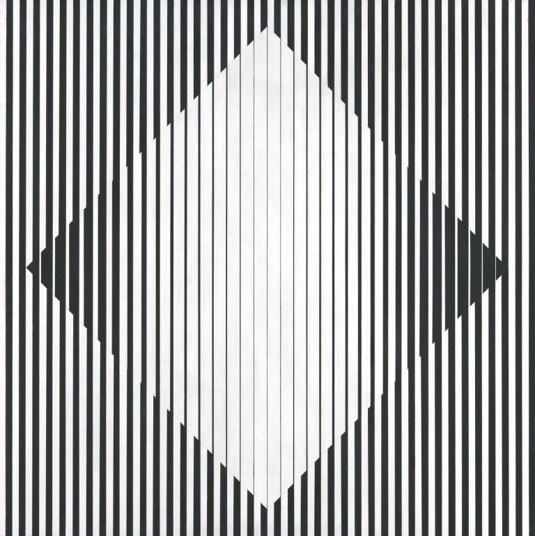 Bridget Riley, 'Opening', 1961, tempera and pencil on composition board, 102,6 x 102,7 cm, National Gallery of Victoria, Melbourne. Felton Bequest, 1967, 1791-5. © Bridget Riley 2014. All rights reserved, courtesy Karsten Schubert, London.
