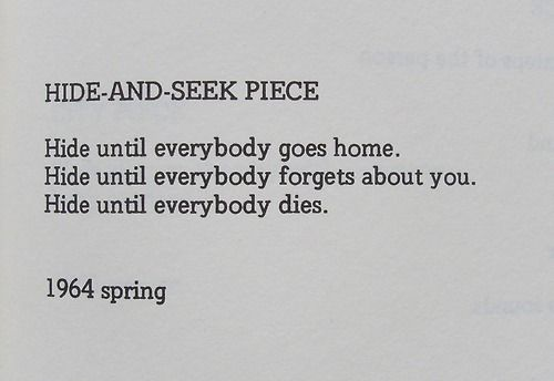 Yoko Ono, 'HIDE AND SEEK PIECE', 1964.