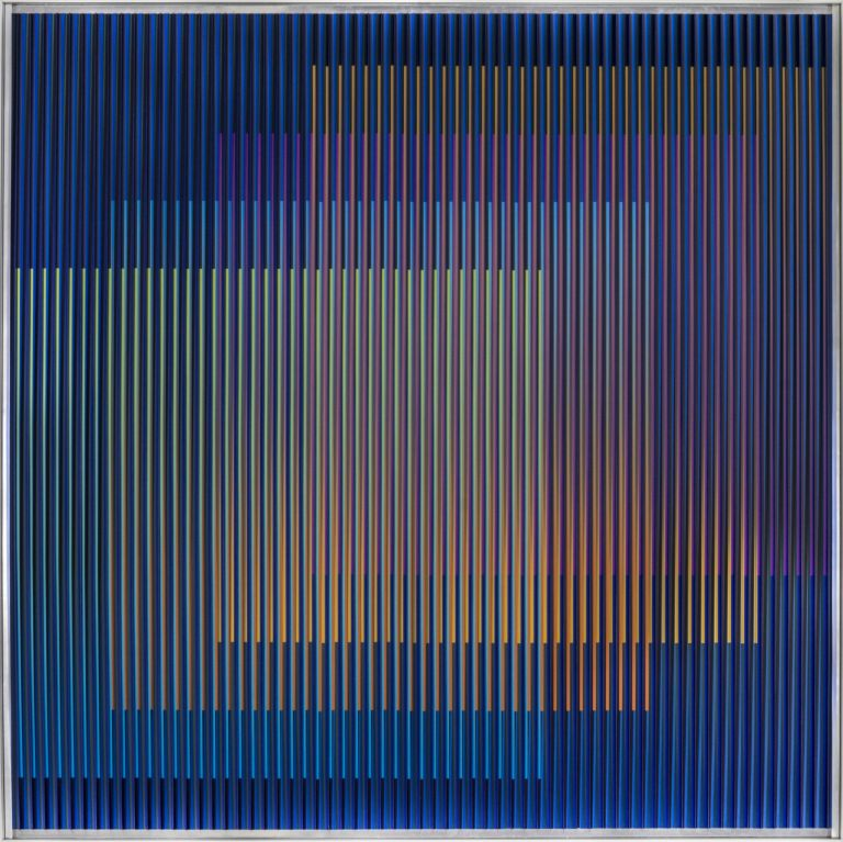 Carlos Cruz-Diez, 'Physichromie Panama 168', 2014, cromografía sobre aluminio, 27.56 x 27.56 inches (70 x 70 cm). Unique. Signed, titled and dated verso.