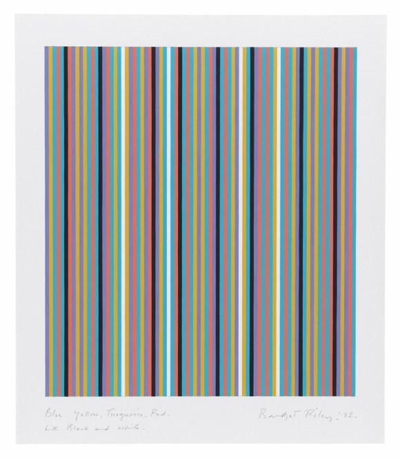 Bridget Riley, 'Blue, Yellow, Turquoise, Red with Black and White', 1982, Pencil and gouache on graph paper, 28 1/8 x 24 3/8 inches (71,5 x 61,7 cm)