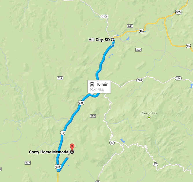 Hill City to Crazy Horse Map