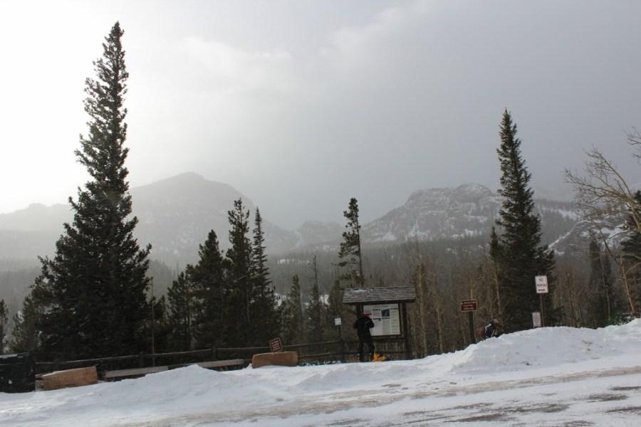 Snow-Shoeing in Estes Park Glacier Gorge Parking Lot