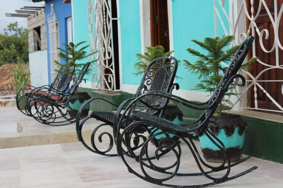 Rocking chairs outside of Buena Vista Restaurant, Trinidad